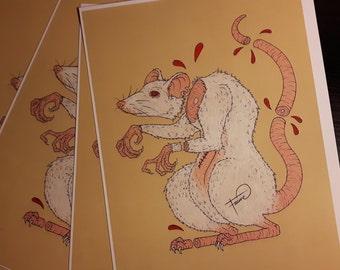 Albinos Lab Rat drawing // Print