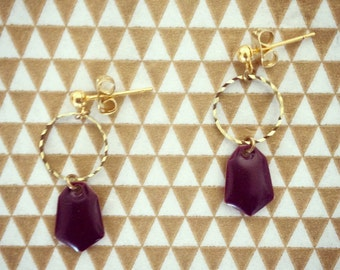 Rings and charms gold earrings