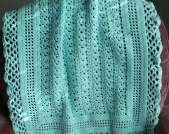 "Hand Crocheted, Baby Afghan, Light Mint Green, Acrylic Yarn, 35"" x 28"", Baby Blanket"