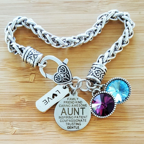 Aunt Gift Aunt Bracelet Gift for Auntie Gifts for Aunts Birthstone Bracelet Aunt Jewelry Mom Bracelet Step Mom Bracelet Stepmom Gift