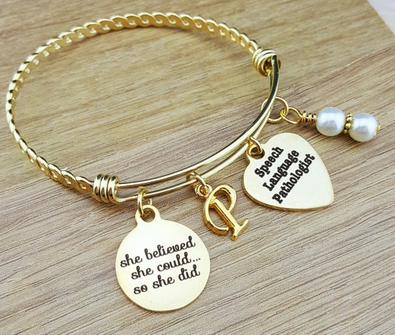 Gold Bangle Speech Language Pathologist Speech Language Pathologist Gift Graduation Gift College Graduation Graduation Gift Senior 2017