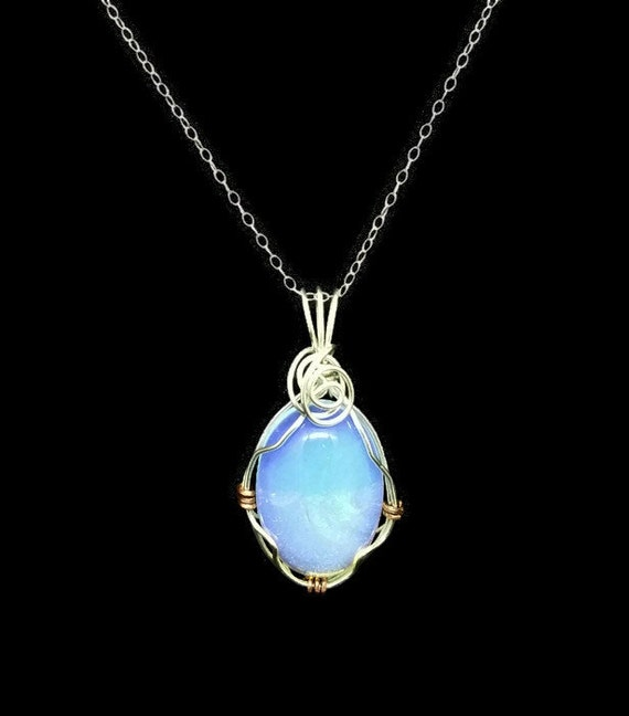 Sterling Silver Wrapped AAA White Crystal Opal Necklace, October Birthstone Necklace, 14th Anniversary Gift, Genuine Gemstone Jewelry
