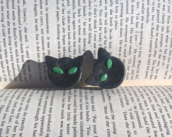 Black cat polymer clay plugs