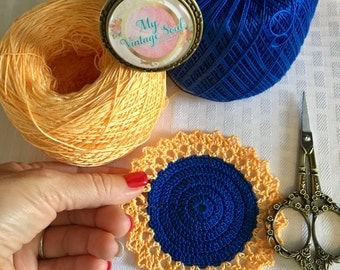 Blue and Yellow Crochet Coaster Set - Doily Coasters - Vintage Home Decor - Drink Coasters - Bridal Shower Gift - Handmade Coasters