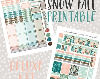 Snow Fall Deluxe PRINTABLE Sticker Kit / Fits Erin Condren Vertical Life Planner