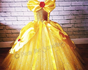 Belle inspired sparkle tutu dress yellow party dress ball gown