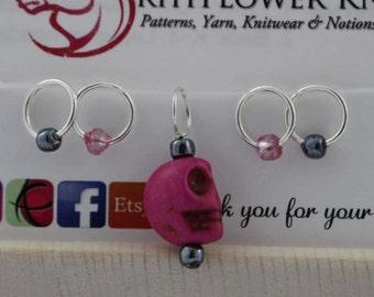 Stitch Marker Set - Pink Skull