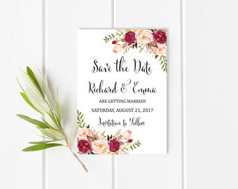 Burgundy Floral Printable Save the Date Card, Marsala Boho Save the Date, Floral Save the Date, Bohemian Card, Wedding, Download, 120-W