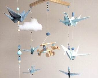 Baby Blue vintage wooden origami mobile