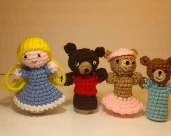 Crochet Finger Puppets, Goldilocks & the Three Bears