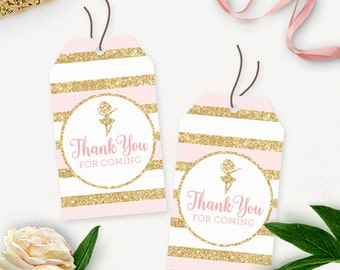 Ballerina Baby Shower Thank You Tags / Gold Glitter Birthday Thank You Tags Printable / Baby Shower Favors