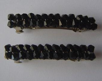 Black beaded hair clip, beaded barrette, hair accessory