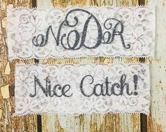 Personalized Garters, Monogram Garter, You're Next!, Nice Catch!, Wedding Garters, Wedding Garter, Personalized Wedding Garter, Garter Set