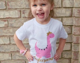 Girls Dinosaur Shirts, Dinosaur Shirt for Girls, Baby Girl Dinosaur Shirt, Pink Dinosaur Shirt, Cute Dino Shirt, Personalized Dinosaur Shirt