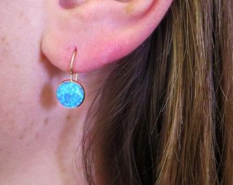 14K Gold Opal Earrings - Opal Drop Earrings - Gold Drop Earrings - Blue Opal Earrings - Real Gold Earrings - Gold Jewelry, 14k Gold Earrings