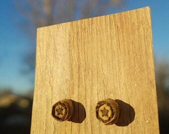 Wood Star Earrings