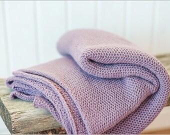 Purple blanket, Alpaca knitted baby blanket, baby shower gift, Knit blankets, Knitted girl throw, Stroller blanket, Winter Blanket