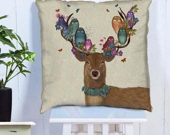 Owl Pillow Cover Deer Pillow Cover Deer & Owl Decor colorful decor Deer gift bird pillow cover decorative pillow sofa pillow cushion cover