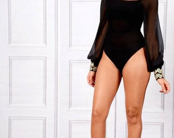 Yasmine Batwing Bodysuit Mesh Top With Embellished Cuffs
