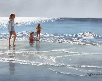Gulf shore beach, children playing in surf watercolor print