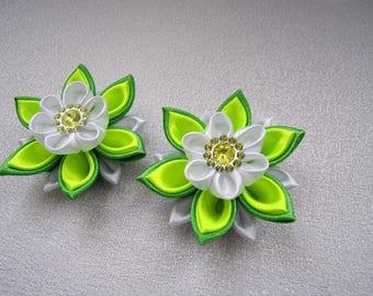 Hair clips for child/pins Ribbon satin/Barrettes kanzashi/Ribbon satin flowers