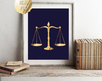 Lawyer Gift   Gifts For Lawyers   Scales Of Justice   Genuine Gold Foil  Print