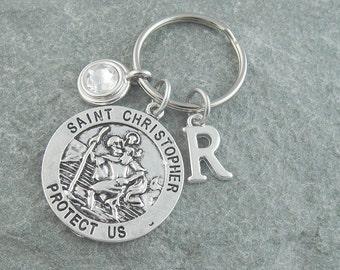 St Christopher keychain, St Christopher keyring, saint christopher, initial keychain, birthstone keychain, custom keychain, travel gift
