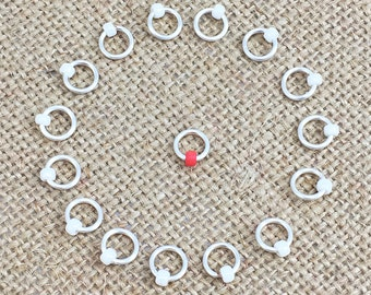 O Ring Stitch Markers, Round Markers, Dangle Free Markers, White Beaded Stitch Marker, Gifts for Knitter, Knitting Tool, Snag Free
