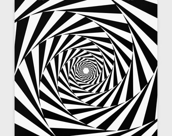 """SPINNING VORTEX Optical Illusion Art Print - Artist Gift - Black and White Geometric Shapes - Stripes - 16x16"""" Poster"""