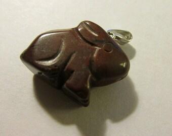 "Carved Jasper Gemstone Bunny Rabbit Charm-Pendant, 3/4"""