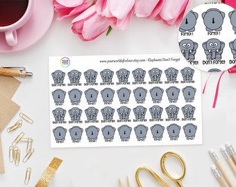 Elephant's Don't Forget Planner Stickers - Erin Condren, Kikki K, Filofax, Happy Planner, Project Life, Kate Spade etc - Adulting Stickers