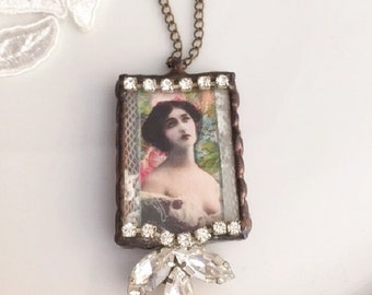 Soldered Jewelry Pendant, assemblage necklace, altered art necklace, Stained Glass pendant, ooak pendant