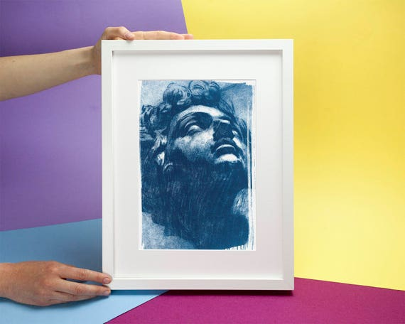 Tintoretto, Head of Giuliano de Medici Drawing, Cyanotype Print on Watercolor Paper, A4 size (Limited Edition)