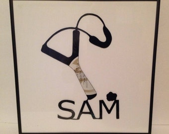 Custom Made Slingshot for boys Framed Vinyl Record Silhouette Art