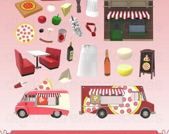 Pizza Clipart, Pizza Clip Art, Pizzeria Image, Pizza Pie PNG, Flatbread Graphic, Tomoato Sauce Scrapbook, Pepperoni, Cheese Digital Download