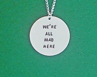 necklace- geek necklace- alice in wonderland- were all mad here- gamer necklace