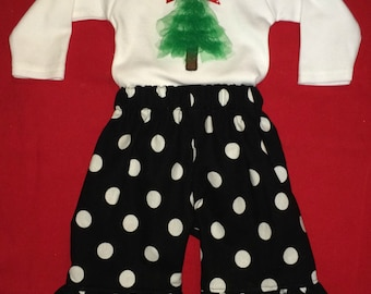 Appliqued tulle Christmas tree bodysuit with ruffle pants