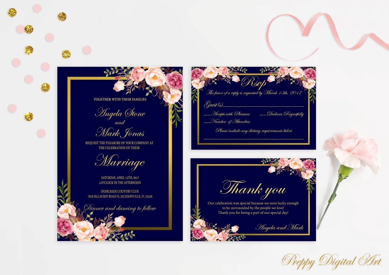 Navy Blue Wedding Invitations: Navy Blue Wedding Invitation Printable Navy Wedding Invitation