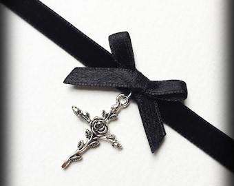 Gothic Cross Choker, Black Velvet Choker Necklace, Gothic Victorian Bow Choker, Silver Rose Cross, Handmade Jewelry, Gothic Gift