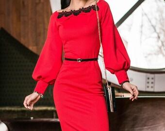 XL-4XL Contrast dress casual wear Midi dress Red dress Long sleeve Casual women's dress Boho knee dress wide sleeves spring Royal blue dress