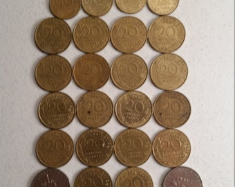 44 france vintage coins 1960 - 1995  -  coin lot centimes francs - world foreign collector money numismatic a48