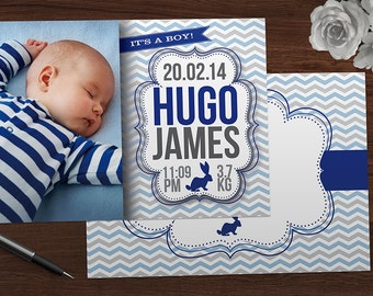 Birth Announcement | Thank you | Bunny Birth Announcement Card | Blue Announcement | It's a Boy | Baby Boy | Baby Thanks | Baby Card