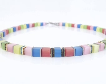 Cube chain necklace cat-eye cat's eye beads dice colorful cheerful rhinestone stainless steel summer
