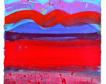 ORIGINAL PAINTING in Acrylic - Red Sunset Indian Heat Haze by Sasha Barnes,  Acrylic Painting, Modern,  Red, Small, Square, Contemporary