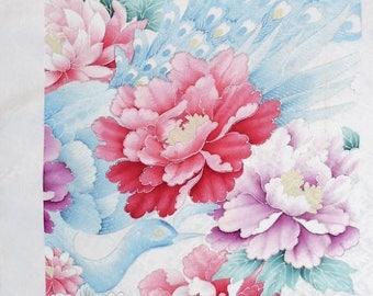 Japanese Silk KIMONO Fabric - Shibori Peacock and Flowers