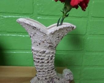 Mid Century Modern White and Gold Splatter Finish Pottery Cornucopia Vase