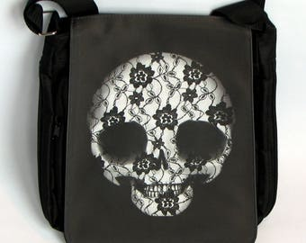 The #DeadPullipSociety Lace Skull Messenger Bag! Strong black material shoulder bag with adjustable strap and pockets galore...