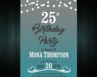 25th Birthday Invitation |  Adult Birthday Invite | Digital File | Any Age Invite