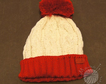 Red hat, white hat, red and white hat, wool hat, handmade hat, handknitted hat, Christmas hat