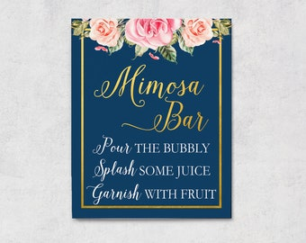 Navy Mimosa Bar Sign, Bridal Shower Decor, Navy Blue Wedding, Bachelorette Decorations, Hen Party, Gold Pink, Bubbly Bar Sign, NG Download
